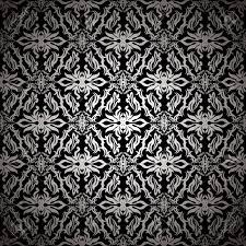 Stijlvol Modern Zilver En Zwarte Achtergrond Met Florale Geïnspireerd Behang Patroon