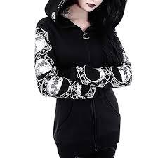 Zipper Size Chart Twgone Zipper Hoodie Women Black Long Sleeve Gothic Vintage Sweatshirt Plus Size Punk Moon Print Coat