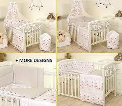 pink stars grey baby bedding set cot
