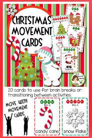 Christmas Program Theme Christmas Movement Cards 25 Cards Brain Breaks Theme
