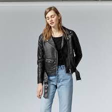warehouse faux leather crop biker jacket black 1