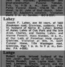joseph francis lahey obituary 12 feb 1967