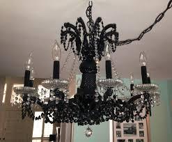 image of mini black crystal chandeliers