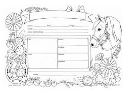 Printable Horse Pedigree Chart Digital Download Colouring Page Pony And Hobbyhorse Accessory Stickhorse Toy Horse Play Equipment Instant