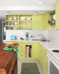 colors green kitchen ideas. Gorgeous Lime Green Galley Kitchen With Repainted Cabinets And White Solid Countertop Colors Ideas