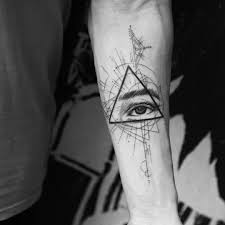 Blackwork Tattoo With Eye And Triangle