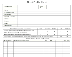 Client Profile Template Customer Form Template Client Profile Form Template Customer