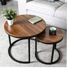 dsi round wooden top coffee tables set