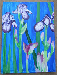 a painting of irises in acrylics step by step photos