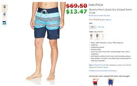 Nautica Swim Trunks Size Chart Nautica Mens Quick Dry Striped Swim Trunk Navy T82107 A