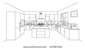 kitchen drawing perspective. Plain Kitchen Sketch Modern Kitchen Plan With Island Single Point Perspective Line  Drawing Kitchen Project Interior And Drawing Perspective