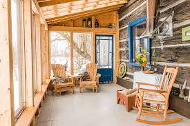 ... A dash of blue enlivens the cool and modest rustic sunroom draped in  wood [Design