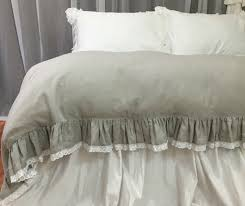 decorative grey ruffle bedding stone linen duvet cover with lace hem jpg c imbypass on grey ruffle bedding
