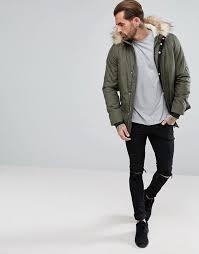 men s river island parka jacket with faux fur trim in khaki i98p9