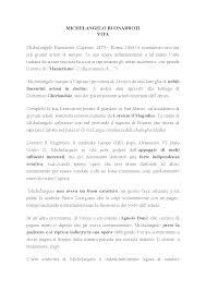 Vita di Michelangelo Buonarroti - Docsity