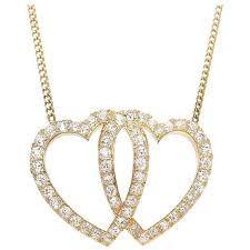 victorian gold and diamond double heart pendant necklace for at 1stdibs
