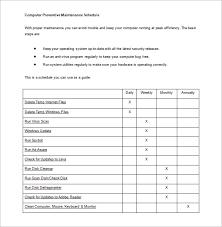 Plant Maintenance Schedule Template Excel Printable