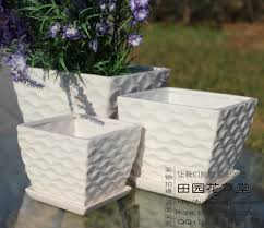 square flower pot ceramic flower pot white brief threedimensional