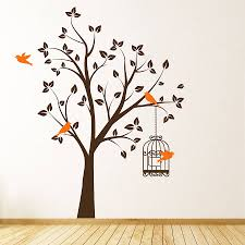 Bird Wall Art Tree With Bird Cage Wall Stickers Free Bird Wall Decal