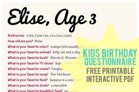 What Do You Do For Fun Interview Question Kids Birthday Interview Questionnaire Free Printable Form