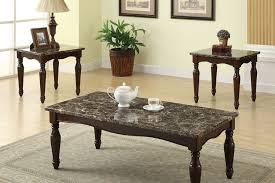 3 pc coffee end table set faux marble dark cherry