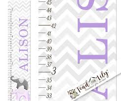 Toad And Lily Growth Chart Canvas Growth Chart Purple And Grey Chevron Elephant Girls Kids Bedroom Baby Nursery Wall Art Gc0233