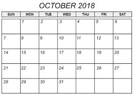 Free Printable October Calendar 2018 2018 Printable Calendar Store