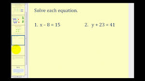 solving one step equations by addition and subtraction