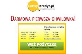 Darmowa chwilówka do 500 zł w Łatwy Kredyt | pożyczka portal