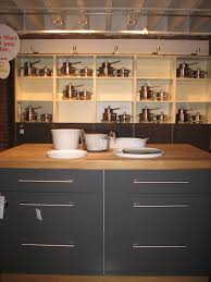 Wonderful Grey Painted Small Kitchen Island With Wooden Top As Well As  Opened White Cabinetry Storage As Vintage Grey Kitchens Decoration Ideas