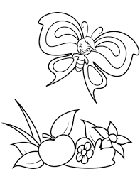 Cute Butterfly Boy And A Big Apple Coloring Page Free Printable