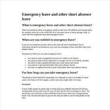 14 Emergency Leave Letter Templates Pdf Free Premium Templates