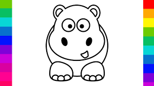 Learn Colours For Kids With Color Cute Baby Hippo Coloring Pages