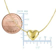 14k yellow gold sliding puffed heart pendant necklace 18