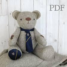 Teddy Bear Sewing Pattern Gorgeous PDF Memory Bear Sewing Pattern Download Fabric Teddy Bear Etsy