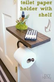 floating shelf with built in roll holder