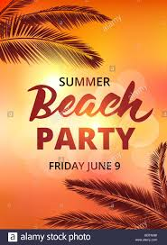 Beach Party Poster Template With Typographic Elements Stock Vector ...