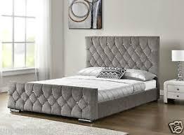 king size mattress. Image Is Loading Diamond-Upholstered-Fabric-Bed -Frame-Velvet-Chenille-Double- King Size Mattress