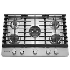 kitchenaid 30 in gas cooktop in stainless steel with 5 burners including professional dual ring
