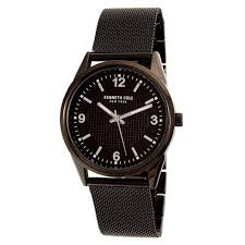 kenneth cole watches on up to 45% off discount watch store kenneth cole 10030782 men s classic quartz black dial black ip steel mesh bracelet watch