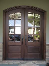Transparent Double Glass Front Doors With Dark Brown Wooden Frames