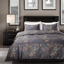 topmail luxury royal style 3 pieces grey super king duvet covers set baroque design vintage bedding