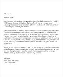 Scholarship Recipient Thank You Letter Sample