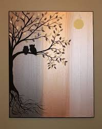 Original Abstract Acrylic Painting Canvas Roots Tree Owl Silhouette  Metallic Pewter Bronze White Gold Owls Branch