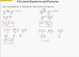 solving literal equations worksheet elementary algebra 10 ...