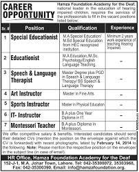 Hamza Foundation Academy For The Deaf Lahore Jobs 2014