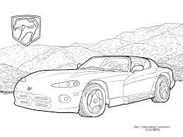 初代ダッジ バイパーのエンブレムと車の塗り絵の下絵画像