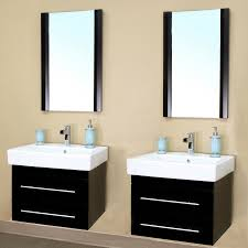24 inch double sink wall mount bathroom vanity in black