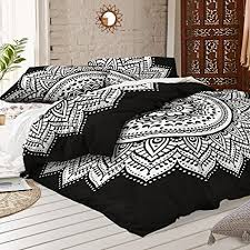 black and white bed covers. Brilliant White Black And White Mandala Duvet Cover With Two Pillow Covers  Bohemian Doona  Set Indian Inside And White Bed S
