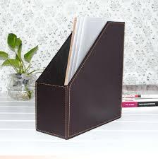 1 slot wood leather desk file book box self holder for note paper black desktop